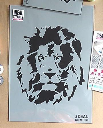 Heim Dekoration /& Basteln au/ßenschablone L/öwe Gesicht au/ßenschablone halb geschliffen Durchsichtig Schablone Farbe L/öwe auf W/ände Stoff /& M/öbel wiederverwendbar ideal Stencils LTD S//17X20CM