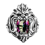 Beydodo Mens Silver Ring, Lion Head Ring Colorful Stone Size 8 Men Rings Hip Hop