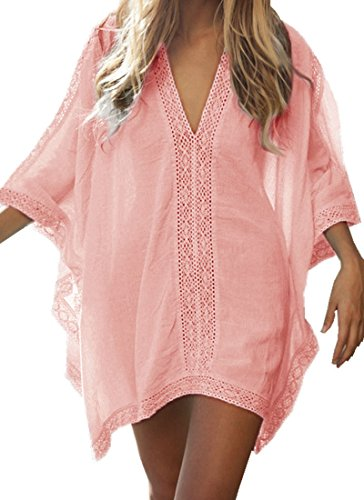 Walant Womens Solid Oversized Beach Cover up Swimsuit Bathing Suit Beach Dress (one Size, Orange Pink)