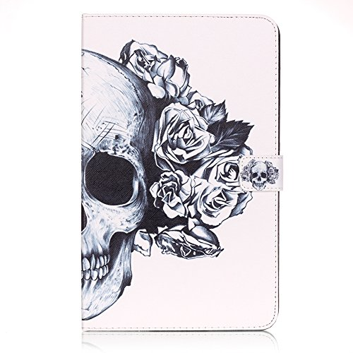 - Galaxy Tab A 10.1 Inch Case, Skull Flower Graphic Smart Folio Leather Case with Sleep/Wake Feature for Samsung Galaxy Tab A 10.1 Inch (SM-T580 / SM-T585)