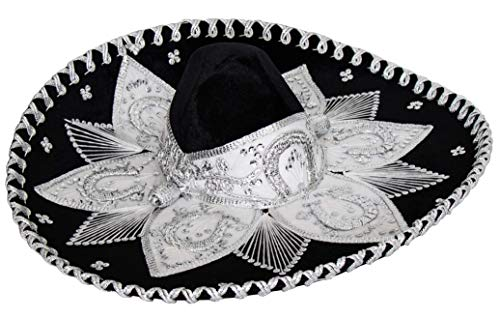 Threads west Premium Adult Mariachi Charro Hat (Black and White)]()