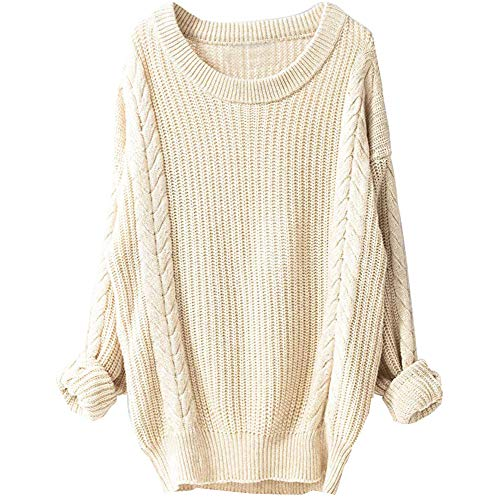 CUCUHAM Women's Winter Large Round Neck Long Sleeve Hemp Pullover Knit Sweater(Beige,Medium) -
