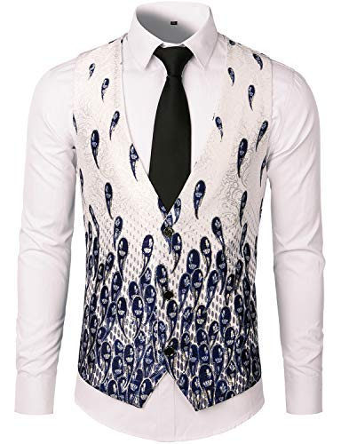 ZEROYAA Mens Hipster Paisley Printed Jacquard Brocade Suit Vest Waistcoat ZLSV09 White X Large ()