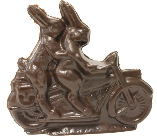 Motorcycle Riding Dark Chocolate Double Easter Bunny 3.5 Oz