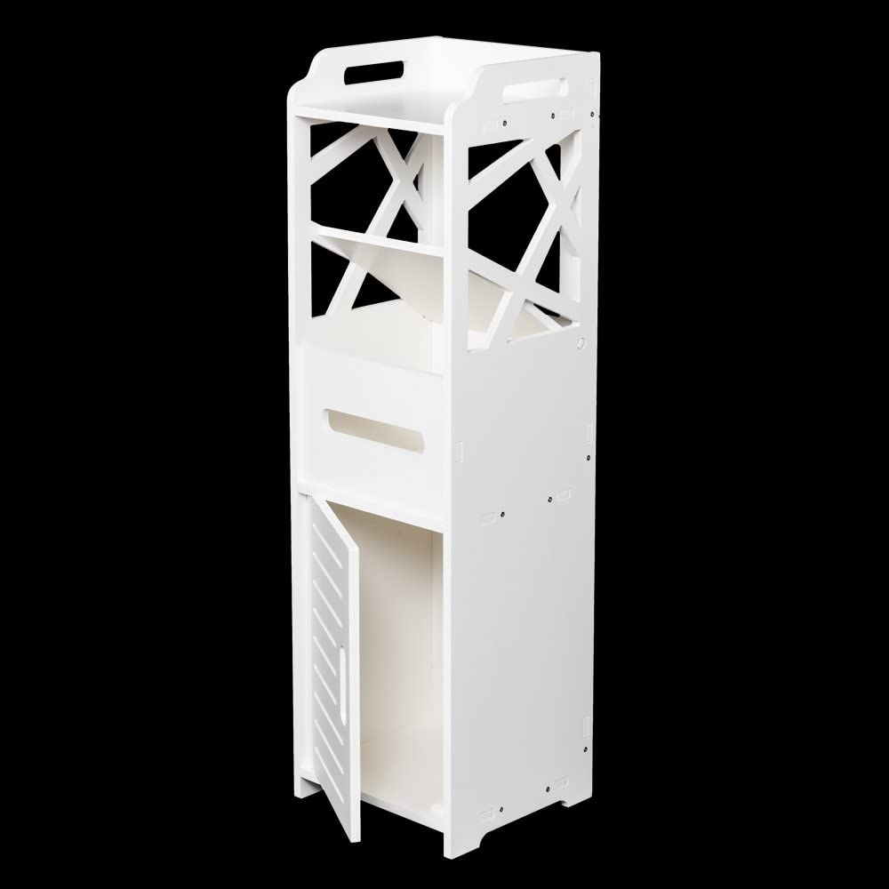 3-tier Bathroom Storage Cabinet - Bathroom Cabinet, Wall Mount Storage Cabinet with Double Doors, Wall Cabinet, Wood Medicine Cabinet,Bathroom Floor Storage Cabinet(White)