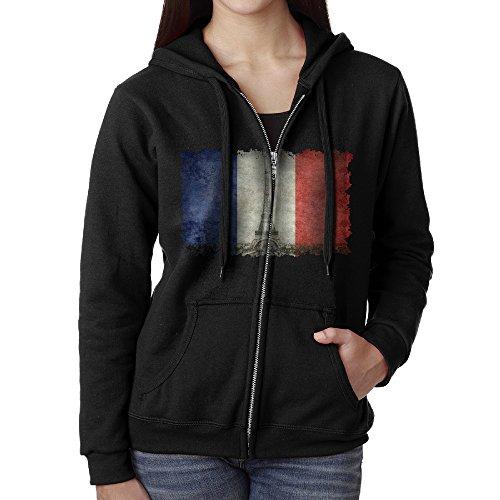 Women Paris, French Flag And The Eiffel Tower Hoodie Sweatshirt Black