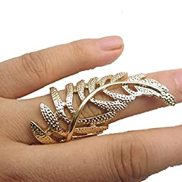 Susenstone®Hollow Leaves Metal Knuckle Rings Finger Joint Ring