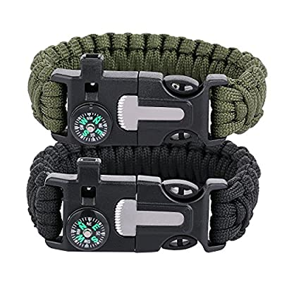TECH-P® 5 in 1 Multifunctional Paracord Bracelet with Compass Flint Fire Starter Scraper Whistle- 2 Pack from TECH-P