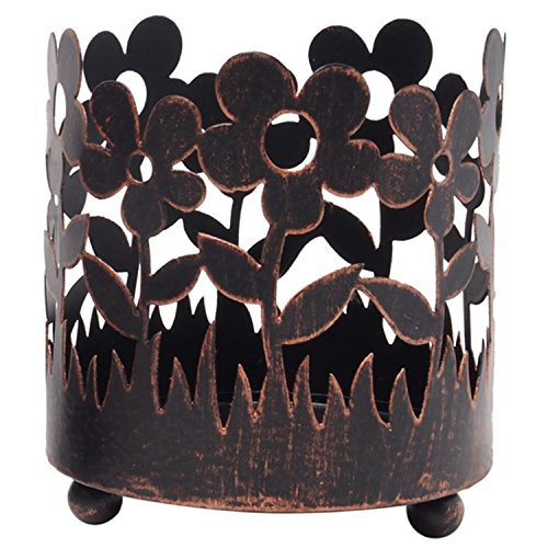 Hosley 4.5 Inch High Bronze Jar Holder Candle Sleeve LED Lantern Votive Tealight Holder Ideal Gift for Wedding Spa Aromatherapy Parties O9 (Holder Sleeve Candle)