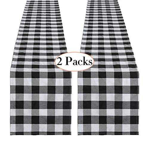 SoarDream Black and White Plaid Cotton Runner 2 Piece 13 x 108 Inch Buffalo Check Table Runner Wedding Table Runner Party Thanksgiving Christmas Gathering Decorations