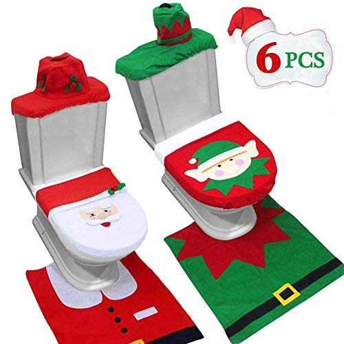 TURNMEON Christmas Toilet Cover Decorations,6 Pcs Christmas Toilet Seat Cover Set, Elf Style & Santa Style, Red Happy 3D Nose Santa Xmas Decorations Toilet Bathroom Set