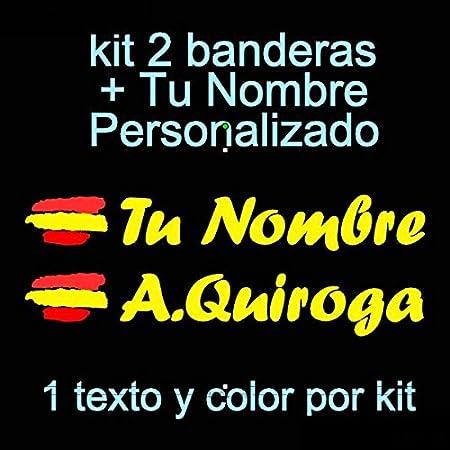 tu Nombre Kit de Dos Vinilos Bici Coche Vinilin Pegatina Vinilo Bandera Espa/ña Pala De Padel Moto Casco etc Monopatin
