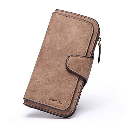 RFID Blocking Mattee Leather Wallet for Women Clutch Purse Bifold Long Designer Ladies Checkbook Multi Credit Card Holder Organizer with Coin Zipper Pocket brown