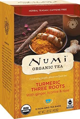 Numi Organic Tea Three Roots, 12 Count Box of Tea Bags (Pack of 3) Turmeric Tea