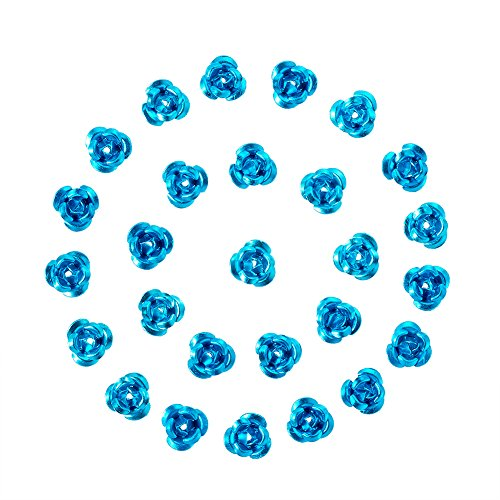 Pandahall 100pcs Tiny Aluminum Metal Rose Flower Floral Beads Sequins Spacer for Jewelry Makings 6.5mm DarkTurquoise