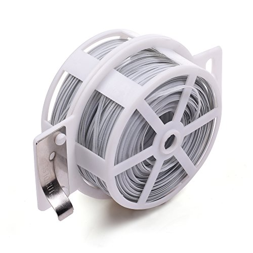 KLOUD City® 328 Feet (100m) White Multi-Function Sturdy Garden Plant Twist Tie with Cutter/ Cable Tie/Zip Tie/ Coated Wire (Velcro Plant Ties)