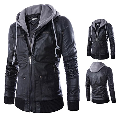 Coper Fashion Mens Hoodie Leather Jackets Winter Warm Sweatshirt (3XL, Black) (Mens Floor Length Coat)