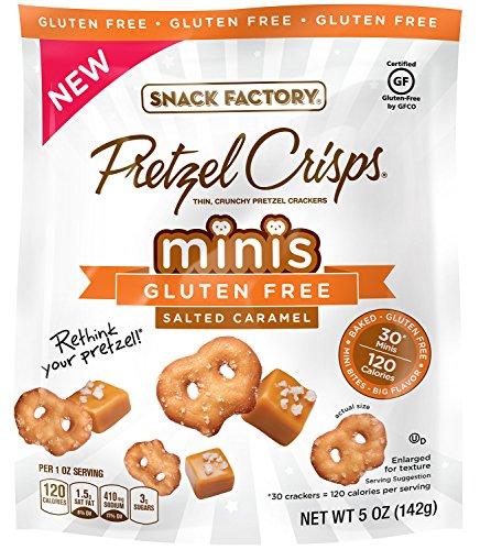 Snack Factory Gluten Free Minis Pretzel Crisps, Salted Caramel, 5 Ounce (Pack of 12) Caramel Crisp