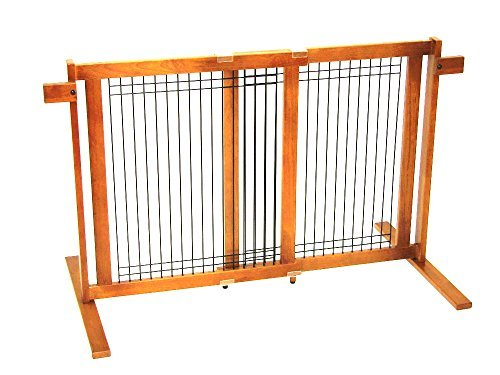 Crown Pet Tall Freestanding Wood Pet Gate with Security Arms by Crown Pet Products by Crown Pet Products