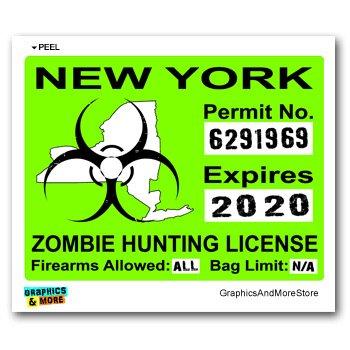 New York NY Zombie Hunting License Permit Green - Biohazard Response Team -  Window Bumper Locker Sticker
