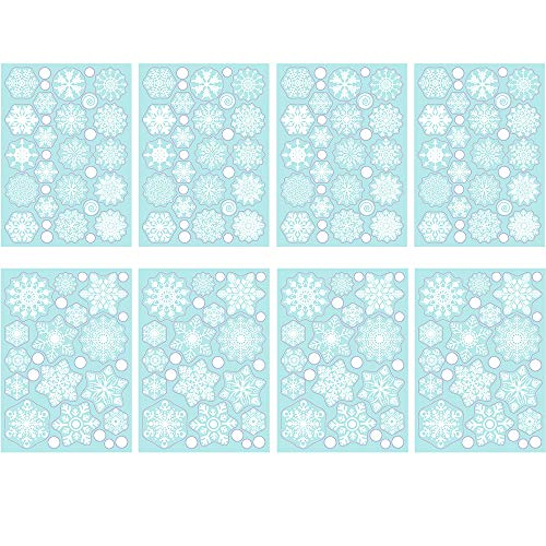 TMCCE 232 Piece Christmas Snowflake Window Decal Stickers – Xmas Holiday White Winter Christmas Window Decorations…