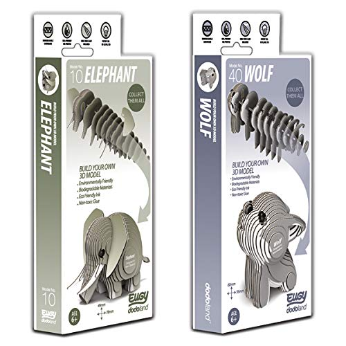 EUGY 3D Elephant & Wolf Model Craft Kits, Twin Pack