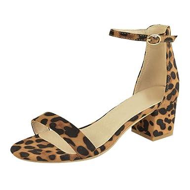 b3fa0ada9c Women's Chunky Low Heel Sandals Fashion Open Toe Ankle Buckle Leopard  Summer Dress Pump Shoes (