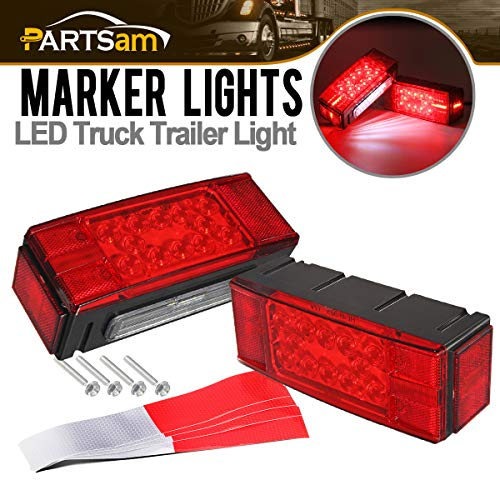 Partsam 12V LED Low Profile Waterproof Rectangular Trailer Light Kit, Waterproof LED Combination Trailer Tail Light Kit Stop Brake License Plate Turn Running Lights Boat Trailer Lights Truck - Marker Rite Best Combination