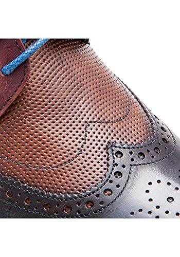 Zerimar Schuhe für Männer Erhöhen auf Unsichtbare Weise Ihre Körpergrösse, Höhe Steigerung, Versteckter anhebender Ferse, Erhöht Ihre Höhe bis zu + 7 cm 100% Leder Marineblau