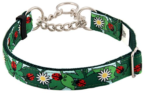 Country Brook Design Ladybugs Picnic Grosgrain Ribbon Half Check Dog Collar - Extra Large