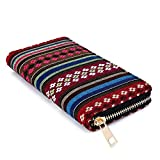 Money coming shop Woven Boho Long Women Wallet Aztec Female Purse Ladies Tribal Card Holder Girls With Cupreous Zipper(Weven Star)