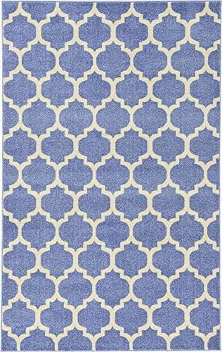 Unique Loom Trellis Collection Moroccan Lattice Light Blue Area Rug (5' 0 x 8' ()