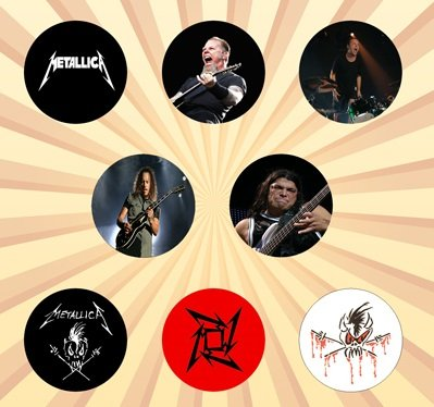 Metallica Set of 8 - 1 Inch Pinback - Scary Guy Metallica