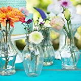 Vintage Bud Vases, 4 - 5.25 in tall, Clear Glass, Assorted Set of 4
