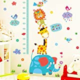 Decals Design 'Cute Elephant Giraffe Cartoon Animals Height Scale' Wall Sticker (PVC Vinyl, 50 cm x 70 cm x 1 cm), Multicolour