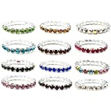 12pcs (12 Colors) Elastic Crystal Toe Ring Mixed Color Wholesale Lot Body Jewelry Pack