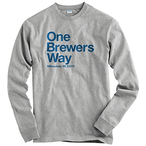 (Smash Transit Men's Milwaukee Baseball Stadium Long Sleeve T-Shirt - Heather Gray, Large )