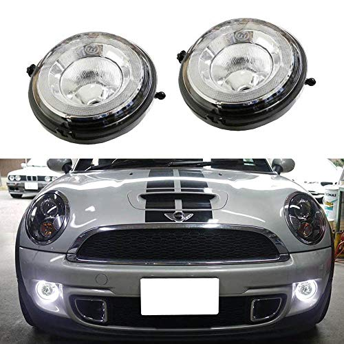 iJDMTOY Xenon White LED Daytime Running Lights Fog Lamps Assy For MINI Cooper R55 R56 R57 R59 R60 R61 etc. Halo Style LED DRLs Powered by (30) High Power SAMSUNG LED Lights