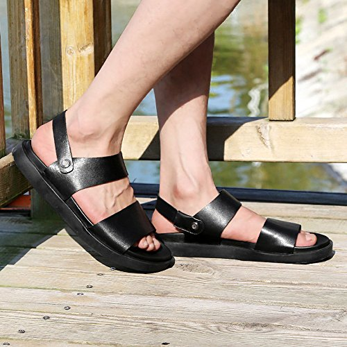 Hope Men's Black Leather Open Toe Sandals Slip On Boys Beach Shoes Slippers Summer Outdoor Walking Fisherman Sandals Black 7R2pEA5q