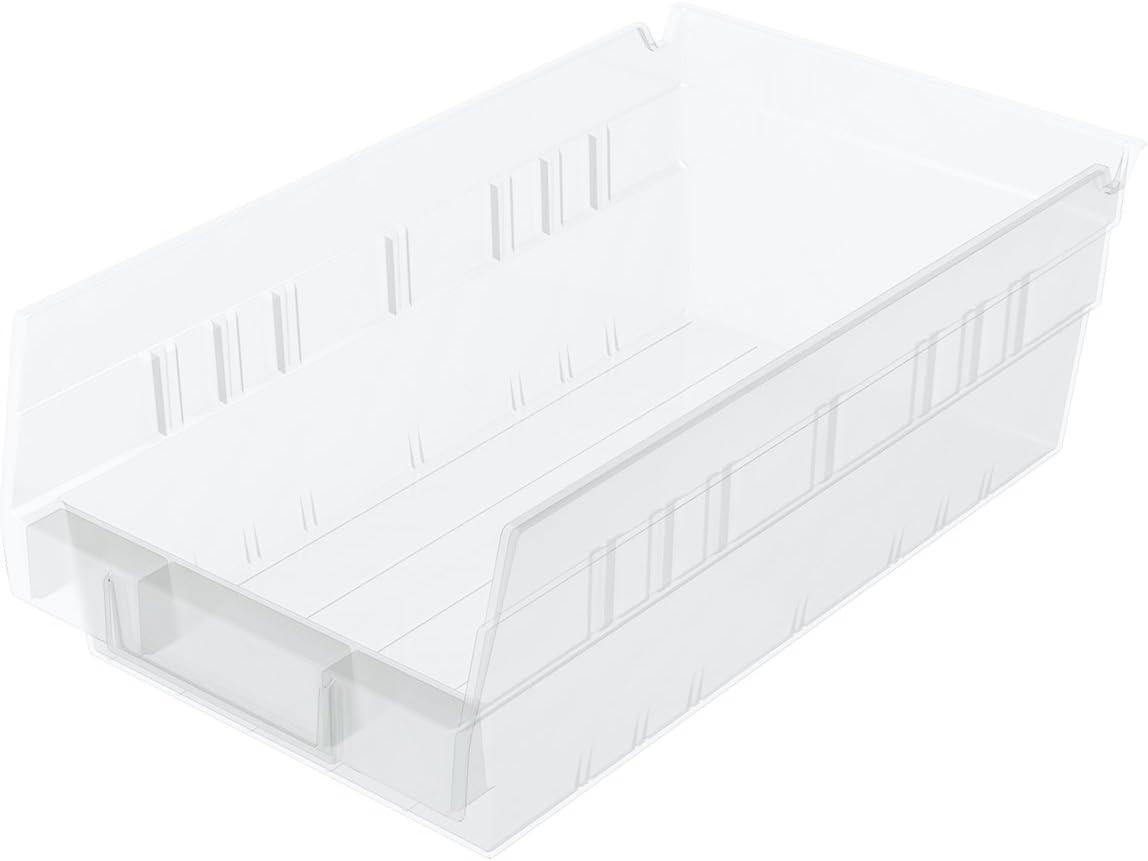Akro-Mils 30130 Plastic Nesting Shelf Bin Box, (12-Inch x 6-1/2-Inch x 4-Inch), Clear, (12-Pack)