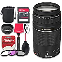 Canon EF 75–300mm f/4–5.6 III USM Lens with 32GB Ultra Pro Speed Class 10 SDHC Memory Card + 3pc Filter Kit (UV-FLD-CPL) + Deluxe Sleeve + Celltime Microfiber Cleaning Cloth - International Version