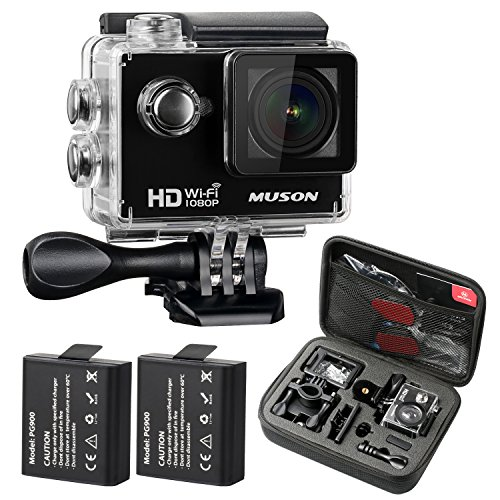 MUSON Action Camera, HD 1080P Sports DV WiFi Digital Video Camcorder 30M Waterproof Underwater Action Camcorder 2 inch LCD Screen 170 Degree Wide Angle Lens Helmet Cam