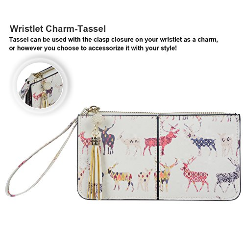 Pink Wristlet 6 With Tassels 7 card Smartphone Soft wrist Pocket Plus Exquisite Strap Iphone Cute cash Clutch Slots Leather carnation 8 Befen Deer Fit Wallet wFpBHtHq
