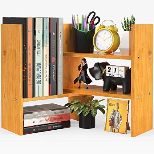 Pipishell Bamboo Desktop Bookshelf Organizer,...