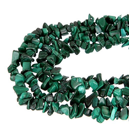 wanjin Malachite Stone Crystal Chips Beads 5~8mm 34 Inches per Strand for Jewelery Making ()