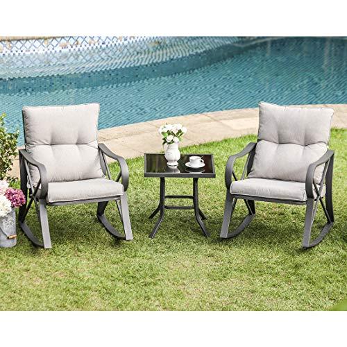 COSIEST 3 Piece Bistro Set Patio Rocking Chairs Outdoor ...