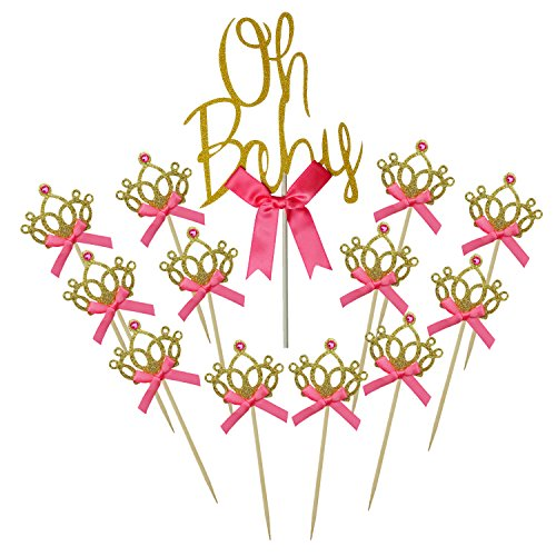 Shxstore Gold Oh Baby Cake Topper Glitter Crown Cupcake Picks with Bow For Theme Party Dessert Table Decoration (Princess Centerpiece Ideas)