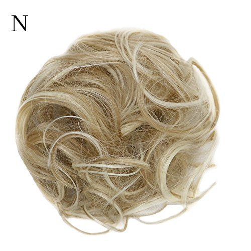 DEESEE(TM)❧❧Women's Curly Messy Bun Hair Twirl Piece Scrunchie Wigs Extensions Hairdressing (N) -