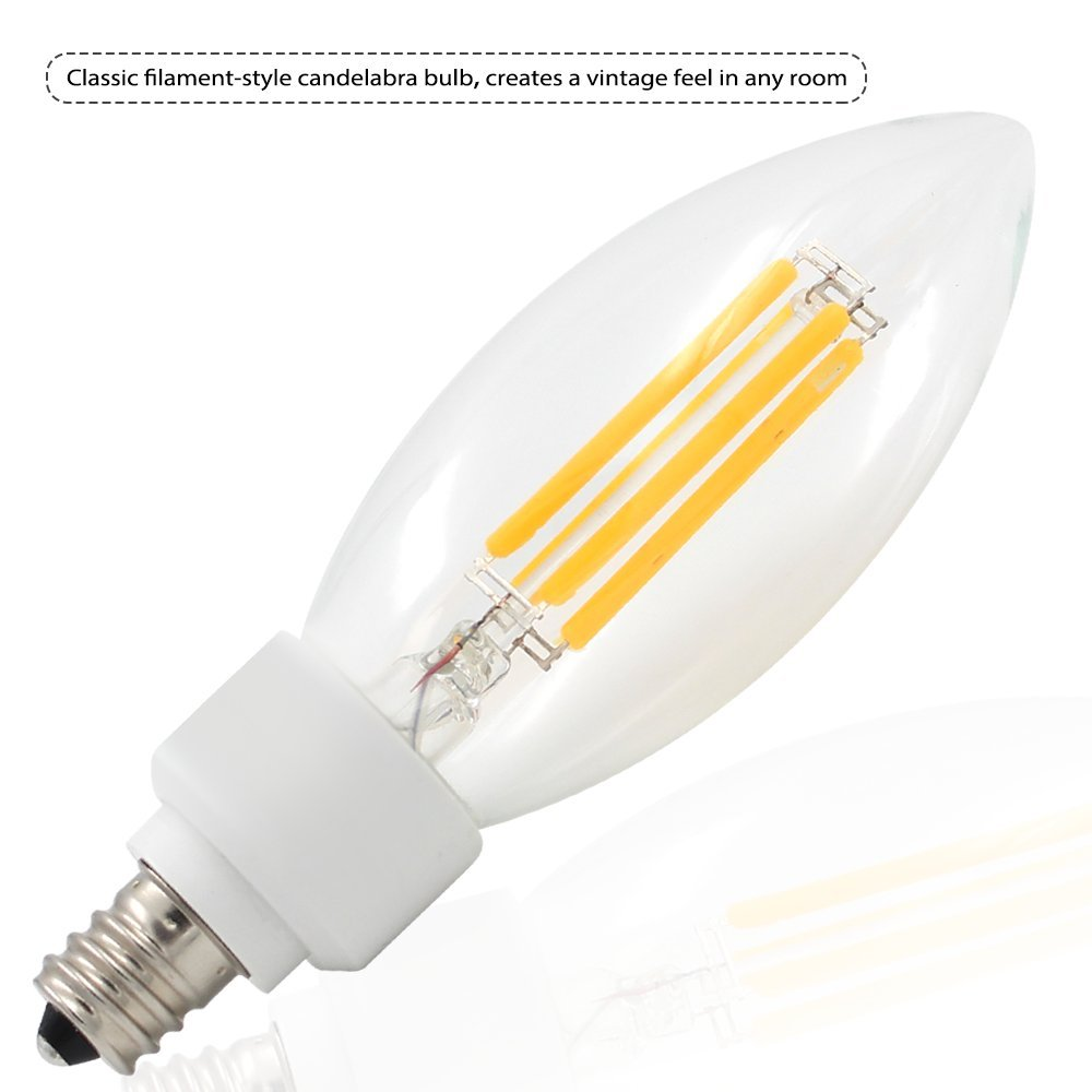 TORCHSTAR 4W E12 LED Filament Candelabra Bulbs, Soft White 2700K Vintage LED Candle Light, 40W Incandescent Equivalent, 400lm 360° Beam Angle for Chandelier, Wall Sconces, Pendant Lighting, 6 Pack by TORCHSTAR (Image #4)