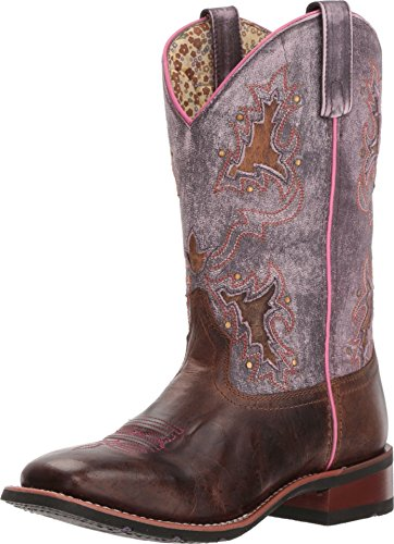 Laredo Women's Lola Purple Inlay Cowgirl Boot Square Toe Tan 9 M